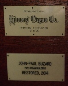 Name plates on the  organ console